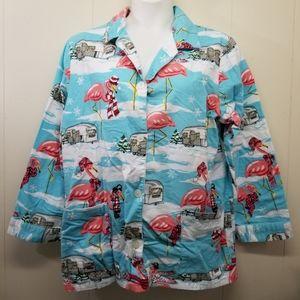 Nick Nora XXL Pajama Top Blue Flamingo Airstream